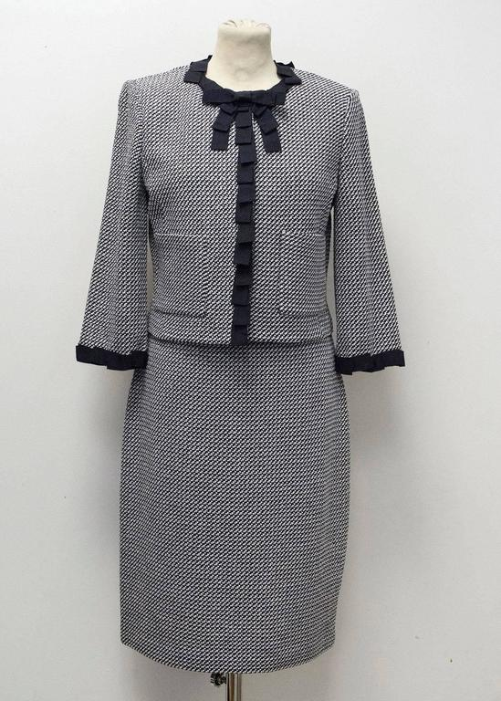 St. John Houndstooth Navy & White Dress and Jacket 2