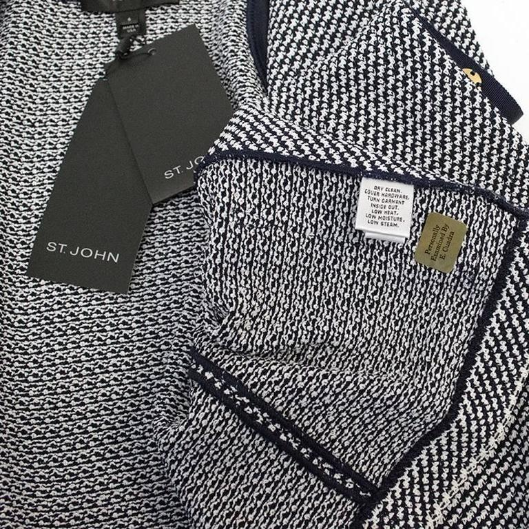 St. John Houndstooth Navy & White Dress and Jacket 7