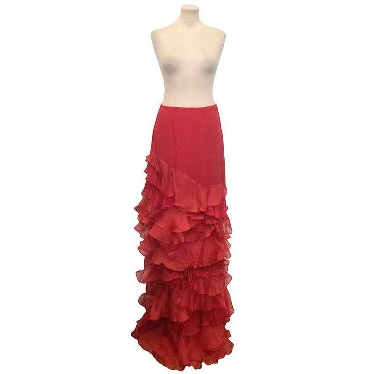 Roberta Furlanetto Red silk tiered skirt 2