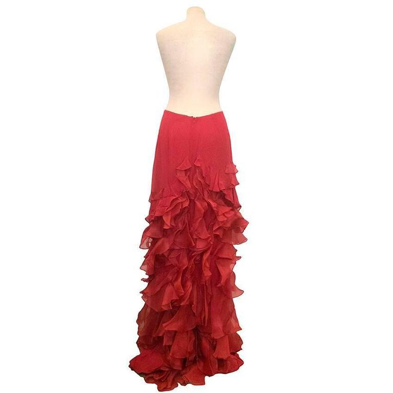 Roberta Furlanetto Red silk tiered skirt 4