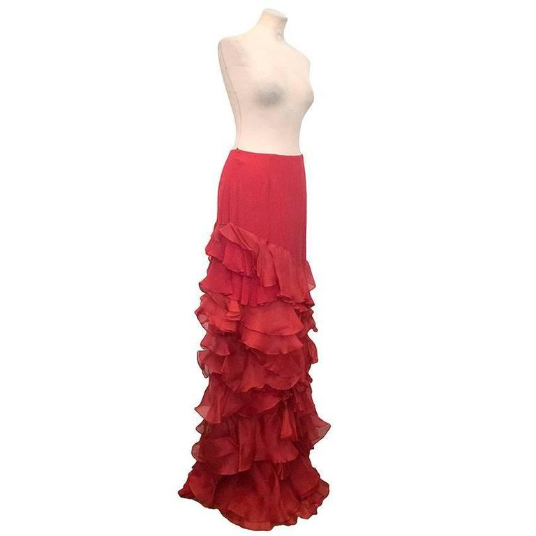 Roberta Furlanetto Red silk tiered skirt 3