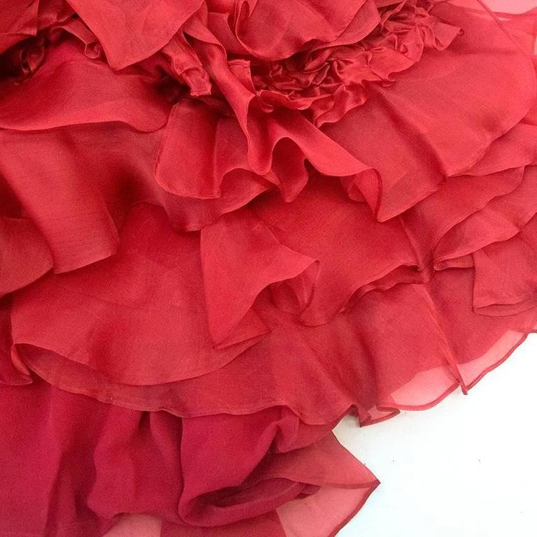 Roberta Furlanetto Red silk tiered skirt 7