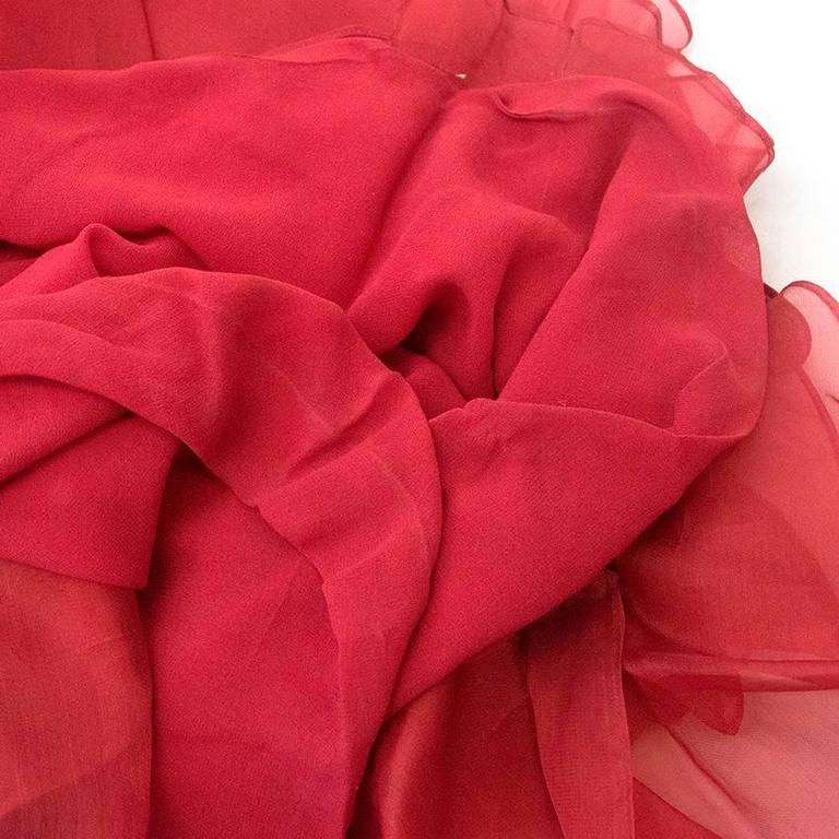 Roberta Furlanetto Red silk tiered skirt 8