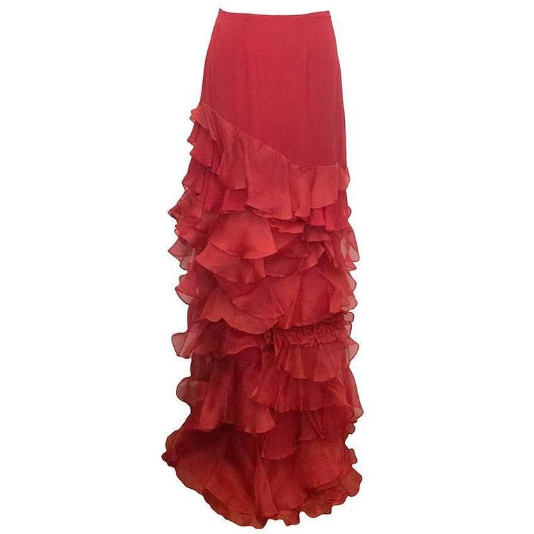 Roberta Furlanetto Red silk tiered skirt 1
