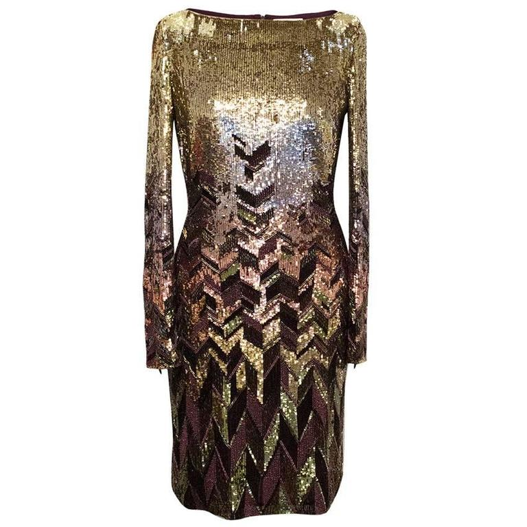 Matthew Williamson Gold and Plum Sequinned Dress  1