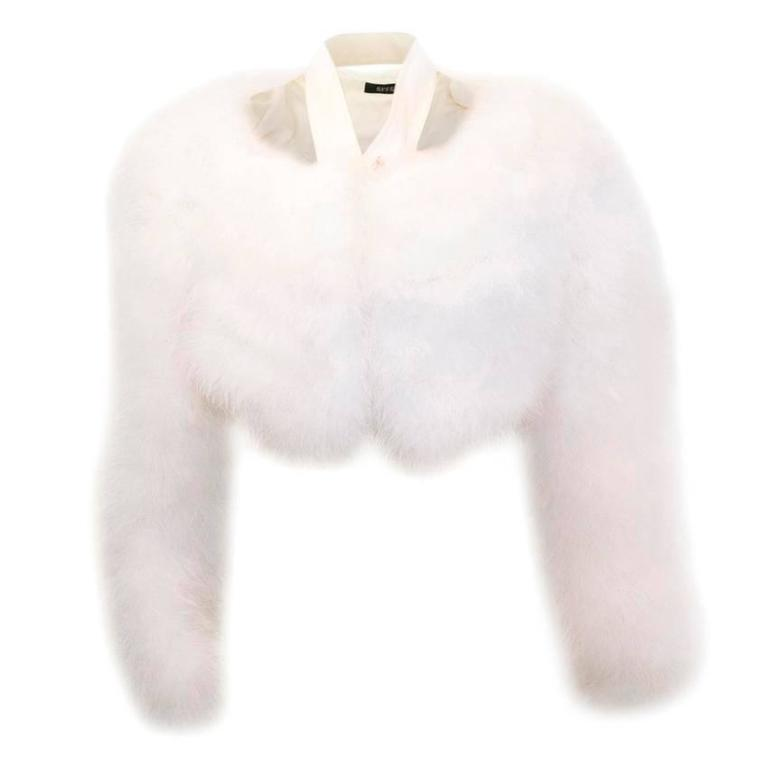 Tom Ford for Gucci White Marabou Bolero For Sale