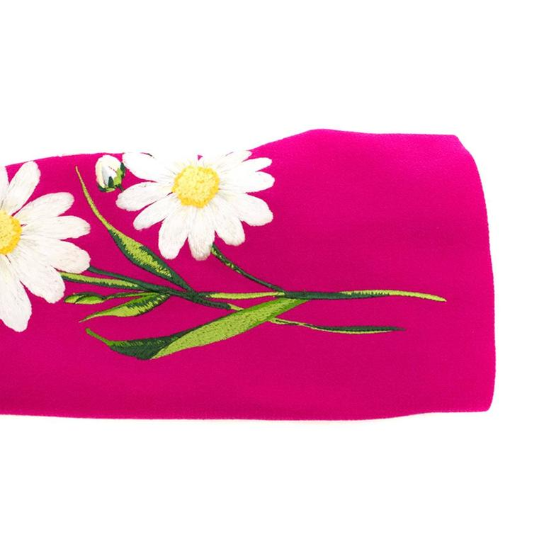 f718ab46 Women's Dolce and Gabbana Fuchsia Dress With Bold Daisy Embroidery For Sale