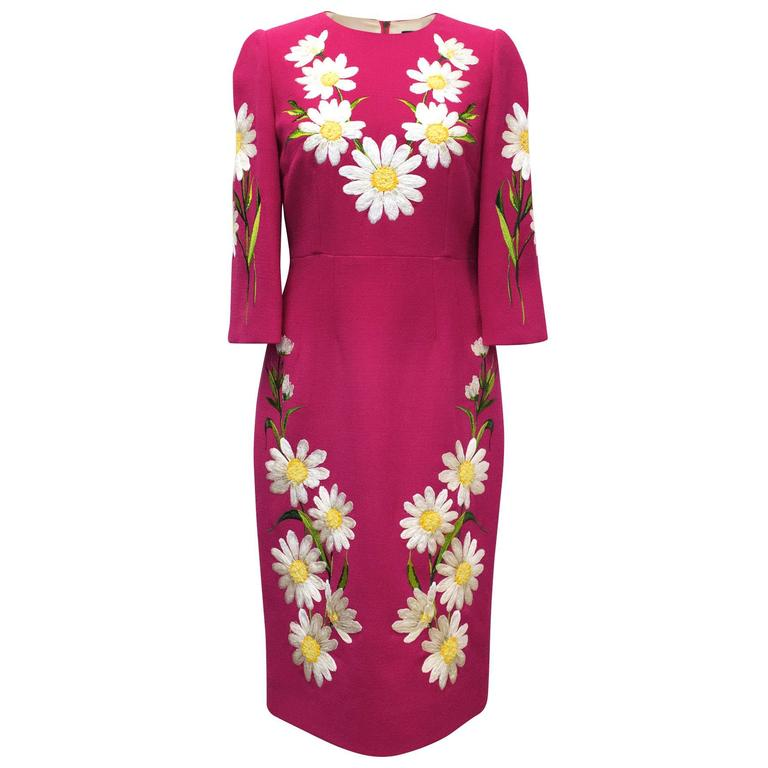 2221948f Dolce and Gabbana Fuchsia Dress With Bold Daisy Embroidery For Sale ...