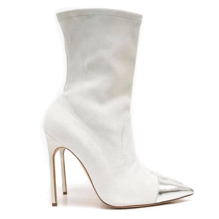 Women's Manolo Blahnik Cream Pointed Sock Boots With Silver Toe For Sale