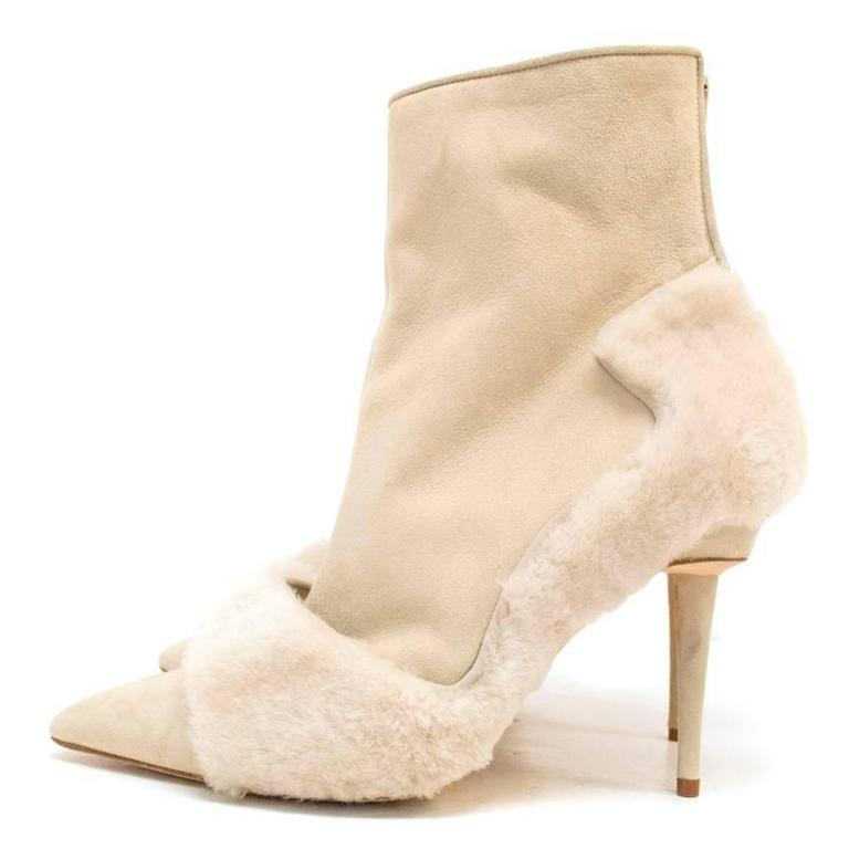 Manolo Blahnik Cream Pointed Boots With Shearling Fur And Suede 5