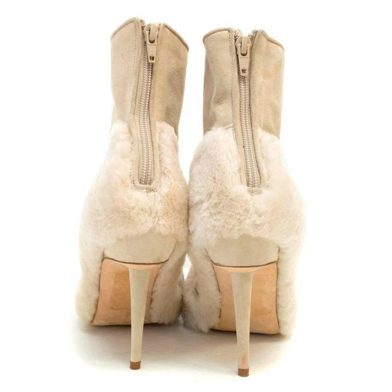 Manolo Blahnik Cream Pointed Boots With Shearling Fur And Suede 3