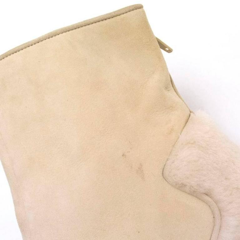 Manolo Blahnik Cream Pointed Boots With Shearling Fur And Suede 6