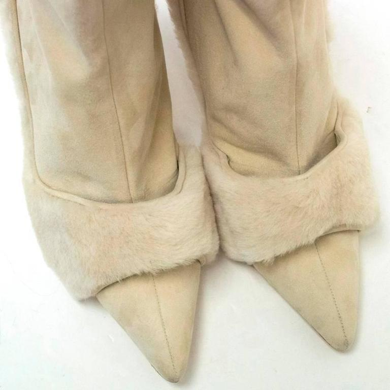 Manolo Blahnik Cream Pointed Boots With Shearling Fur And Suede 4