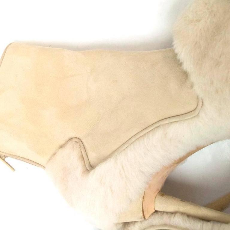 Manolo Blahnik Cream Pointed Boots With Shearling Fur And Suede 7