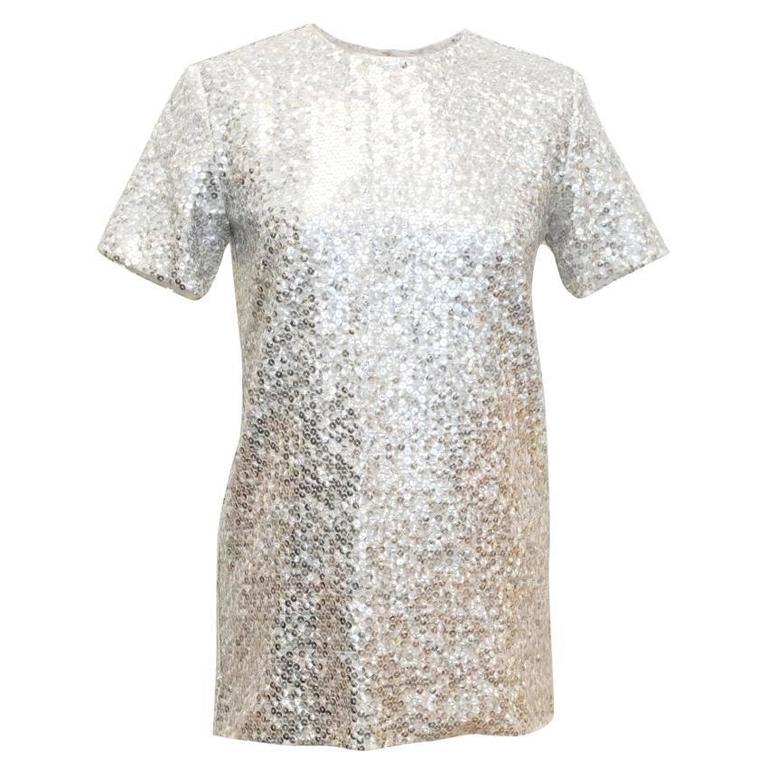 Nina Ricci Silver Sequined Voile Top For Sale