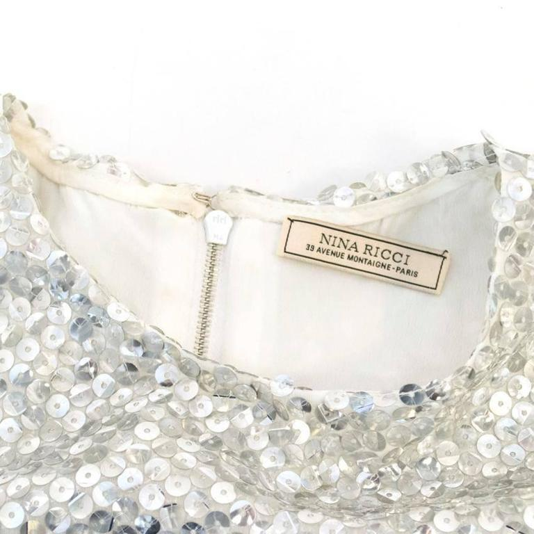 Nina Ricci Silver Sequined Voile Top For Sale 1
