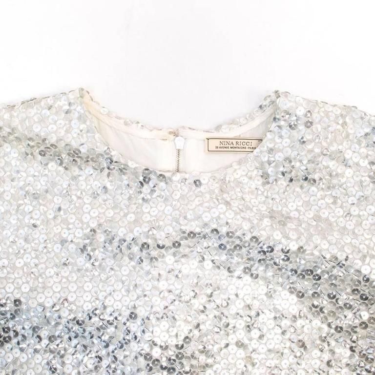 Nina Ricci Silver Sequined Voile Top For Sale 2