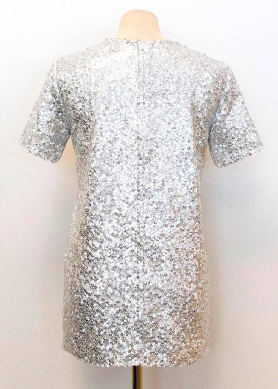 Women's Nina Ricci Silver Sequined Voile Top For Sale