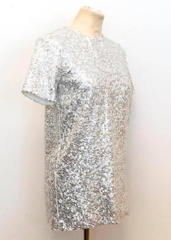 Nina Ricci Silver Sequined Voile Top In Good Condition For Sale In London, GB