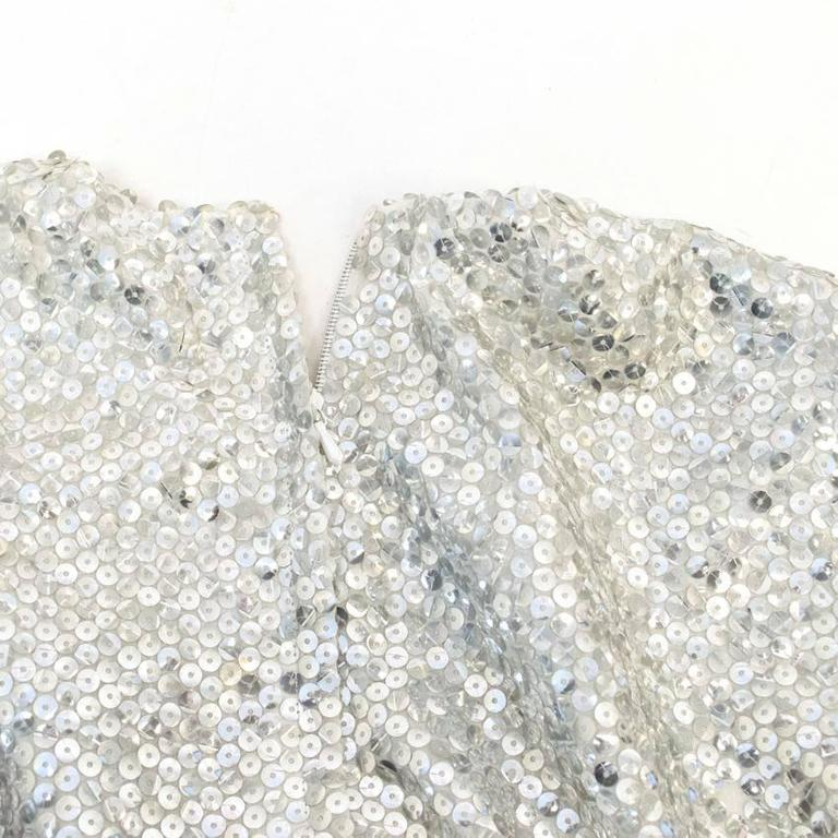 Nina Ricci Silver Sequined Voile Top For Sale 4
