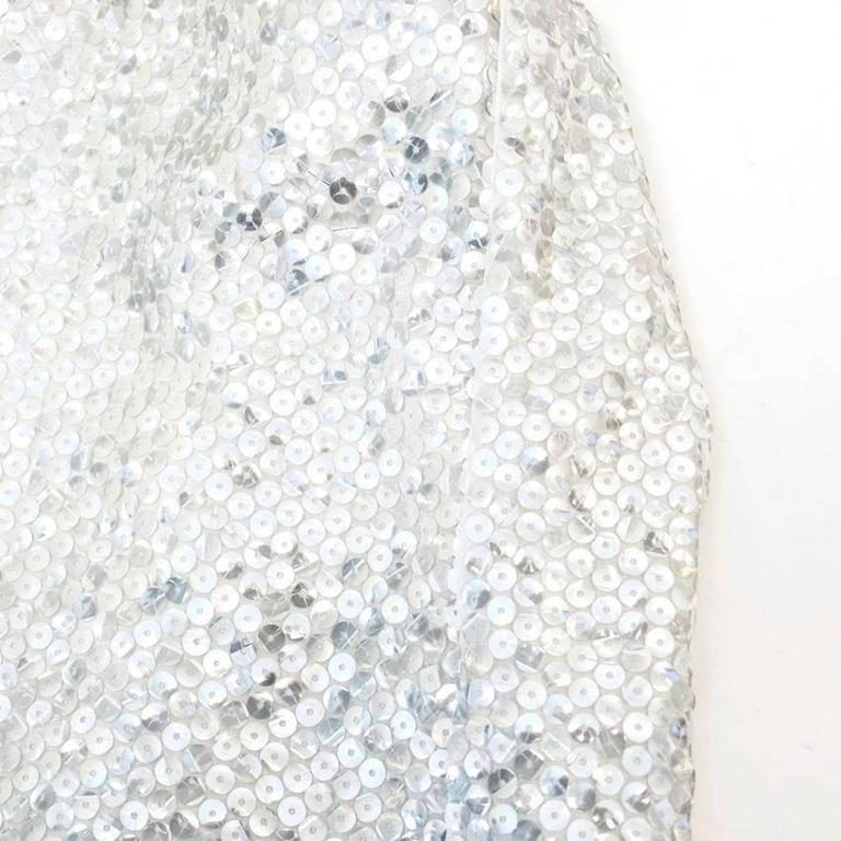 Nina Ricci Silver Sequined Voile Top For Sale 6