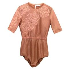 Vionnet Mesh Bodysuit With Embroidered Roses And High Neck