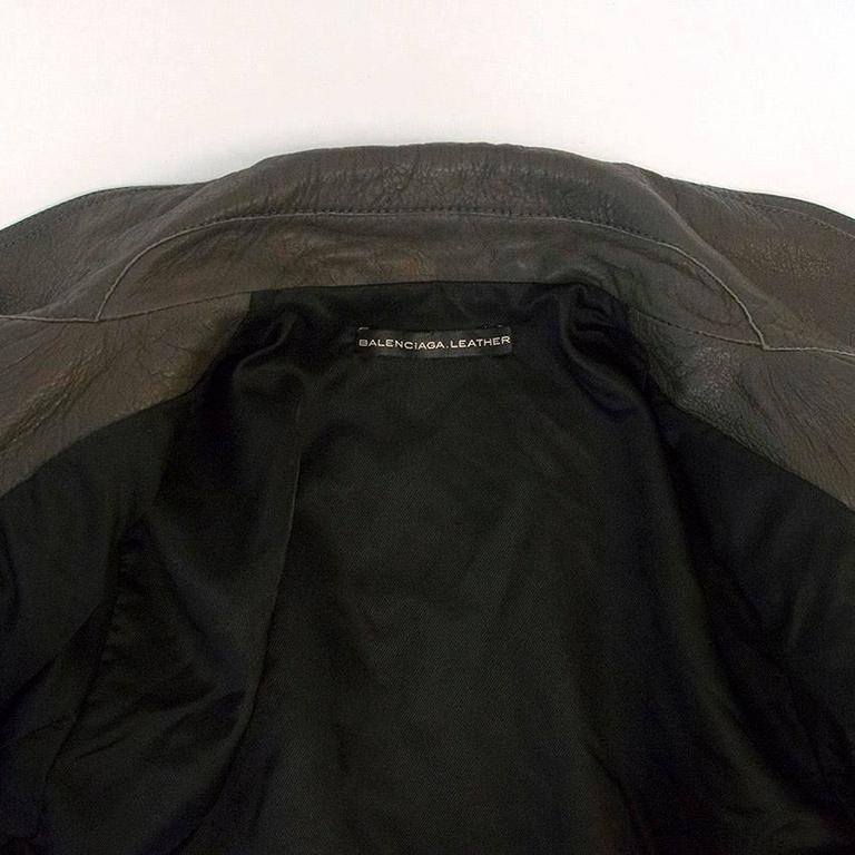 Balenciaga Grey Leather Jacket For Sale 2