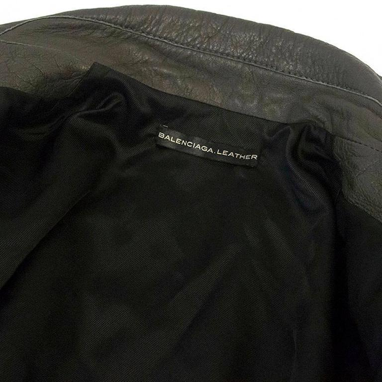 Balenciaga Grey Leather Jacket For Sale 4