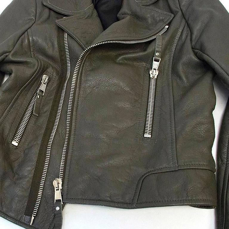 Balenciaga Grey Leather Jacket For Sale 5