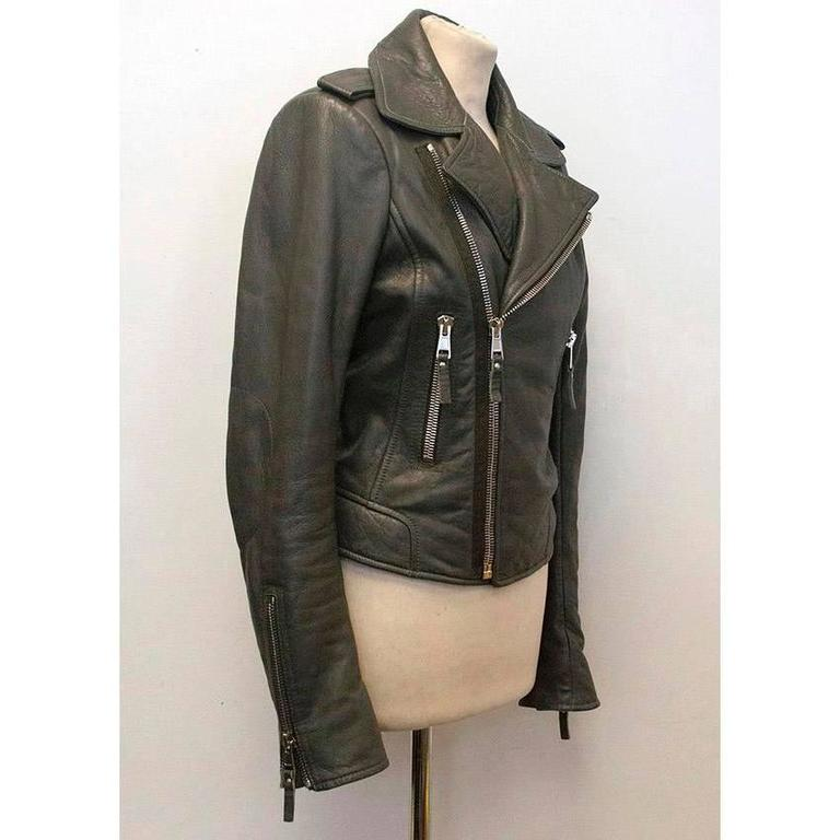 Women's Balenciaga Grey Leather Jacket For Sale