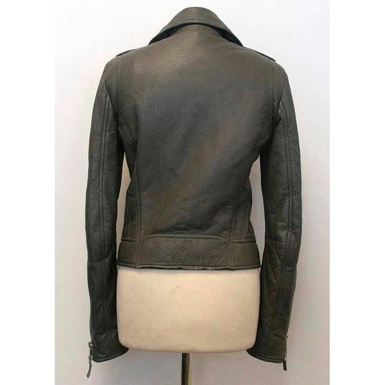 Balenciaga Grey Leather Jacket In Good Condition For Sale In London, GB