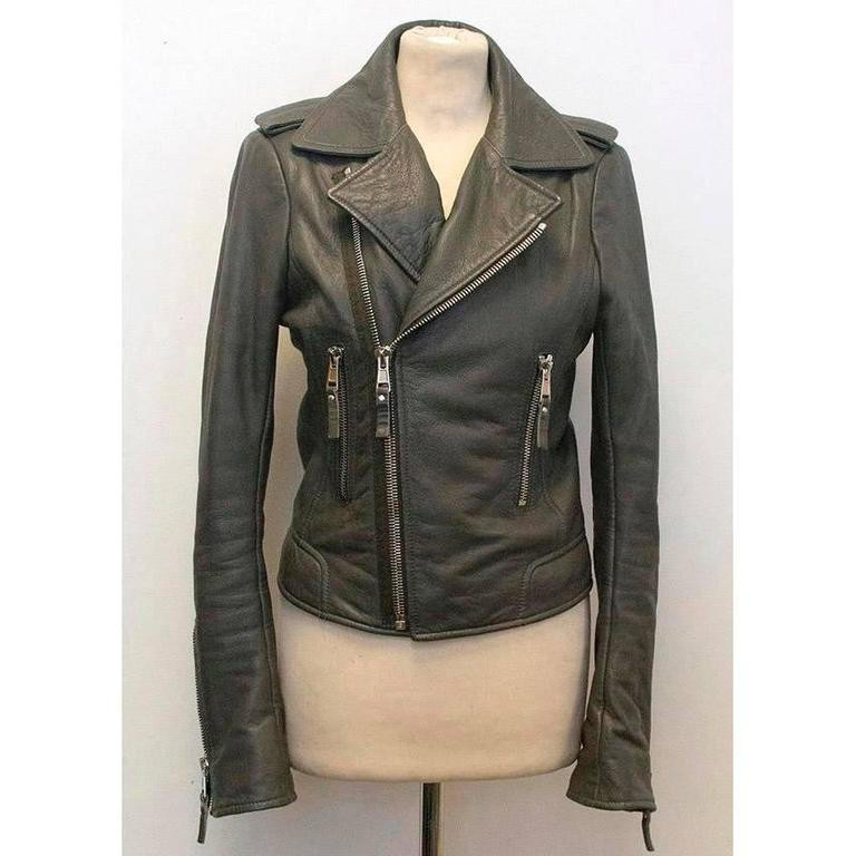 Grey lambskin leather biker jacket. Zip fastening at the front. Made in Turkey. Great condition, 9.5/10. 