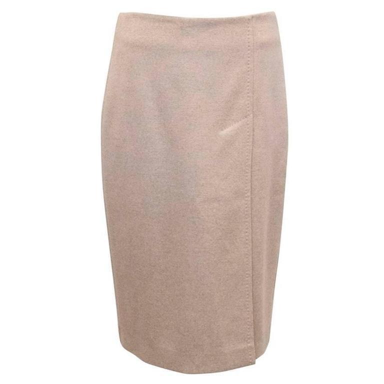 MaxMara Beige Wool Pencil Skirt  1