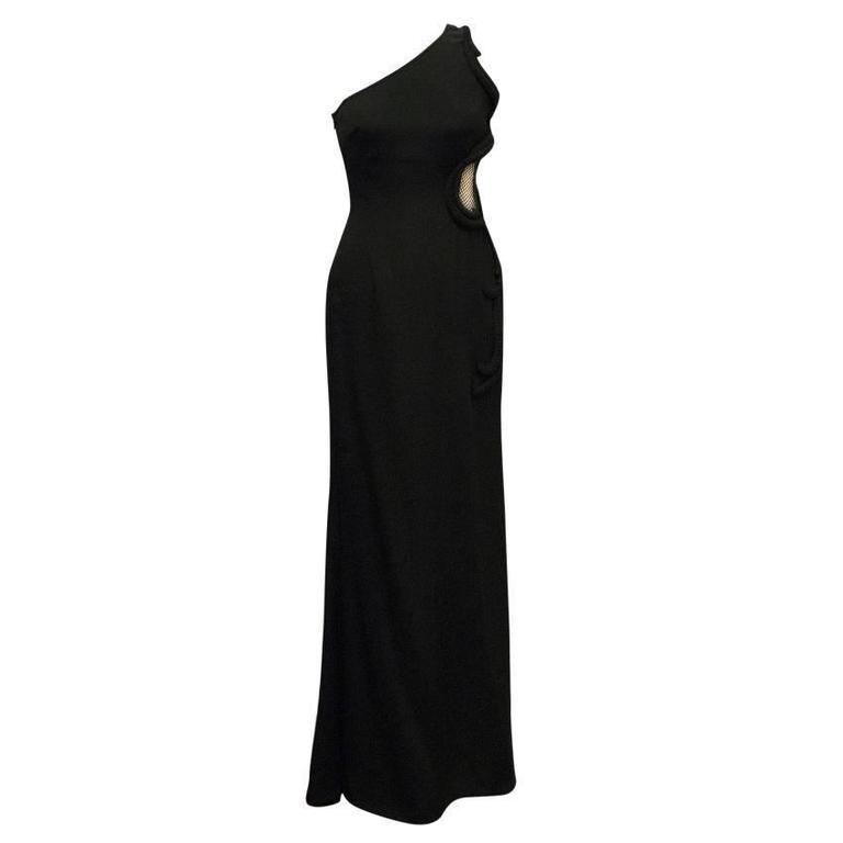 Stella McCartney Black One Shoulder Sleeveless Gown For Sale