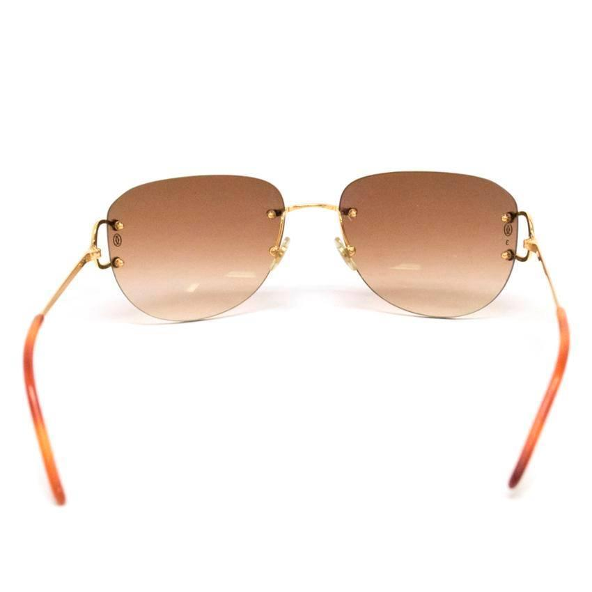 Cartier Rimless Glasses : Cartier Rimless Sunglasses With Gold Hardware at 1stdibs