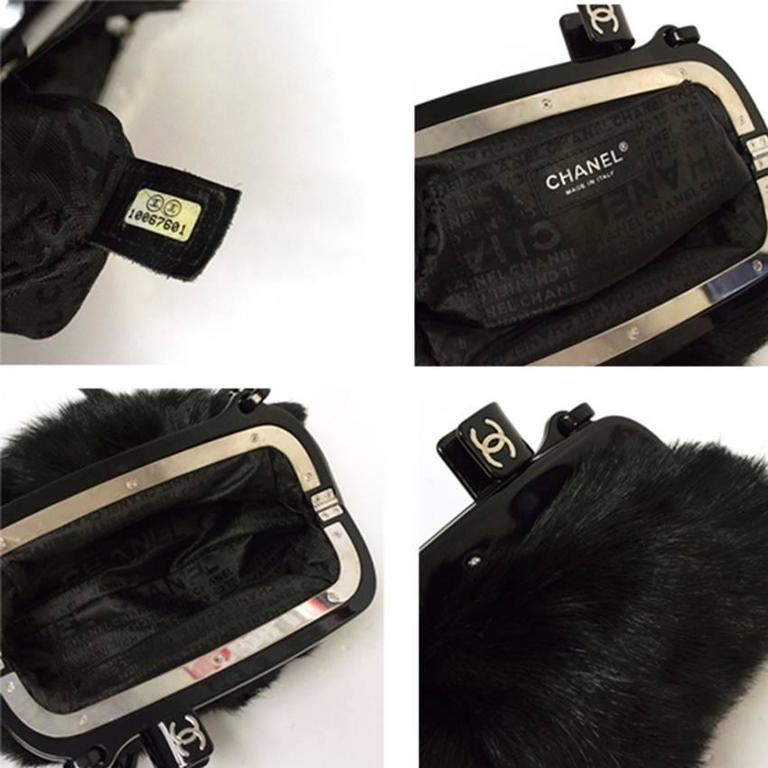 ad908f9685e0 Chanel Black Fur bag with Plastic Chain at 1stdibs