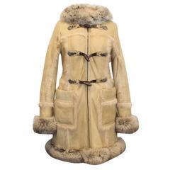 Prada Sheep And Fox Fur Leather Hooded Coat