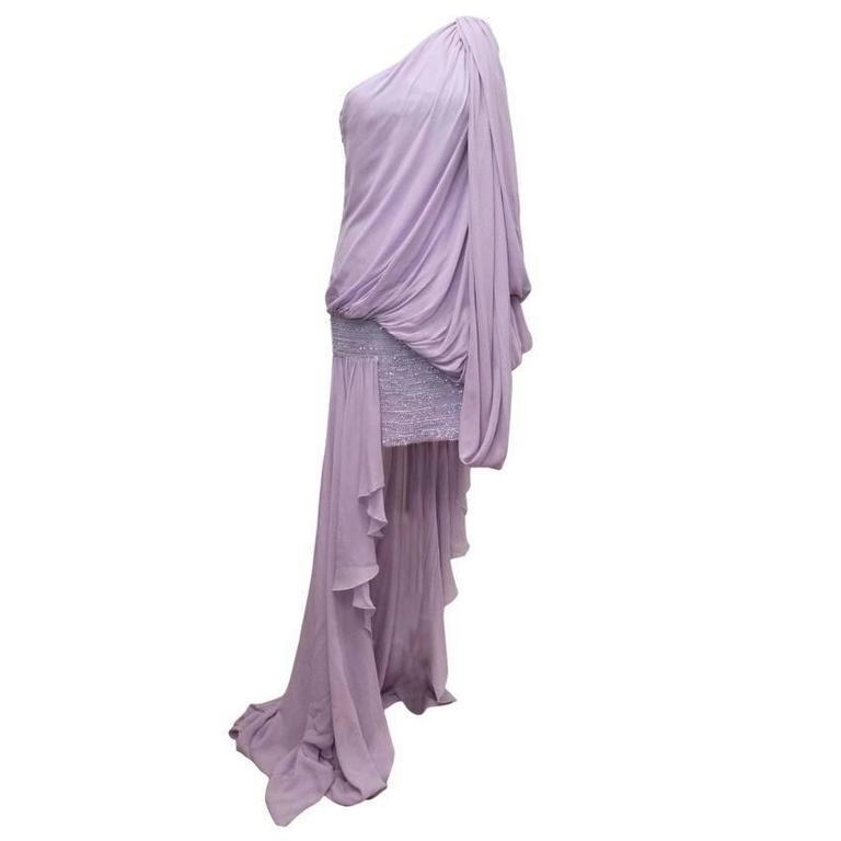 Elie Saab Lilac Silk One Shoulder Dress 1