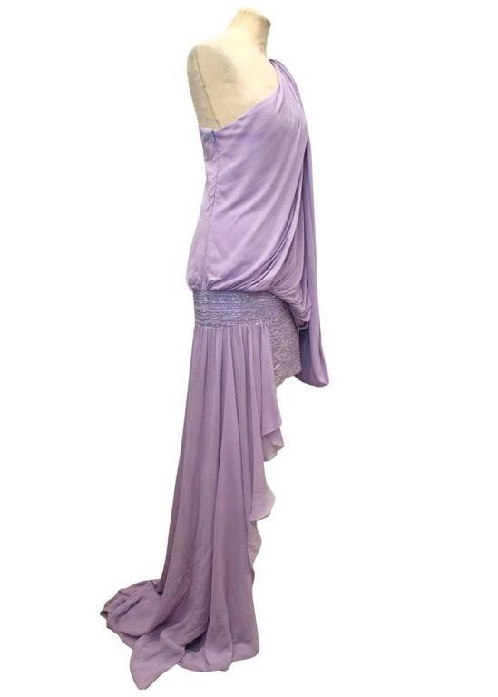 Elie Saab Lilac Silk One Shoulder Dress 3