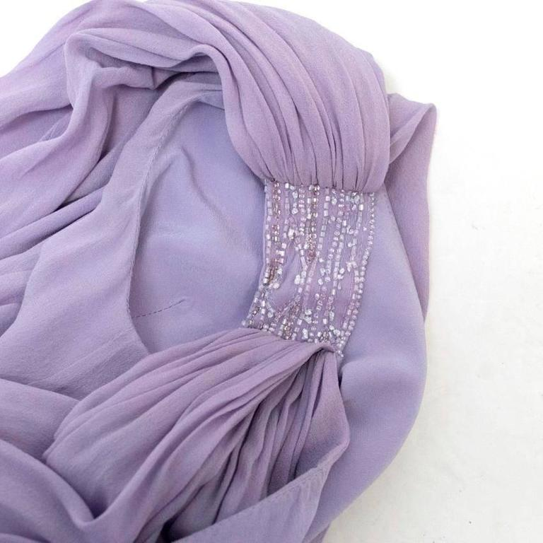 Elie Saab Lilac Silk One Shoulder Dress For Sale 4