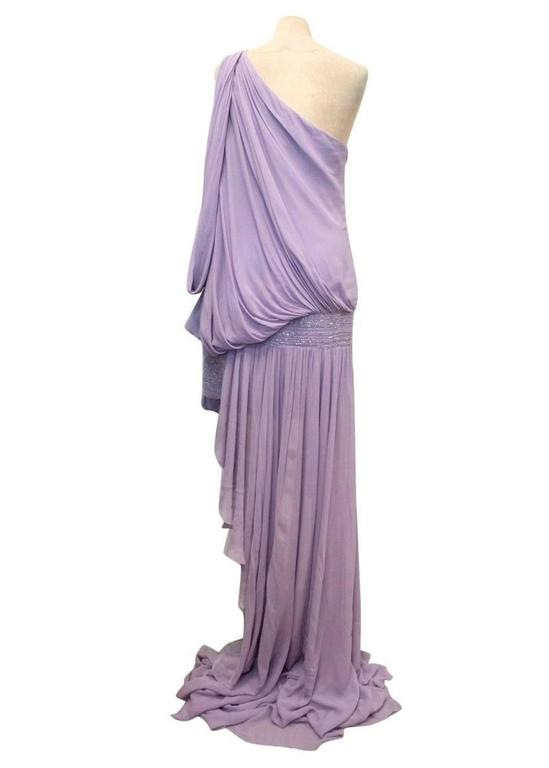 Elie Saab Lilac Silk One Shoulder Dress 4