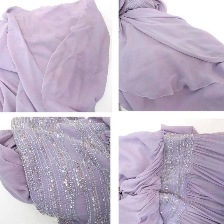 Elie Saab Lilac Silk One Shoulder Dress For Sale 2