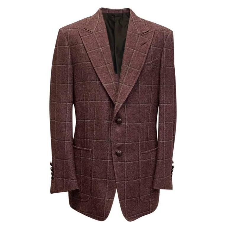 Tom Ford 52R Eggplant Wool Blazer For Sale