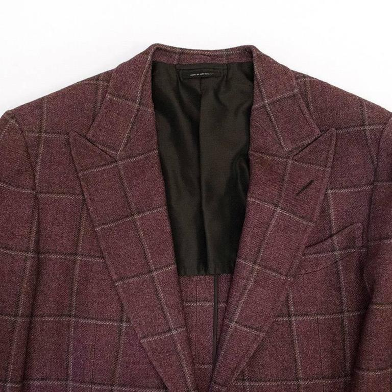 Tom Ford 52R Eggplant Wool Blazer For Sale 4