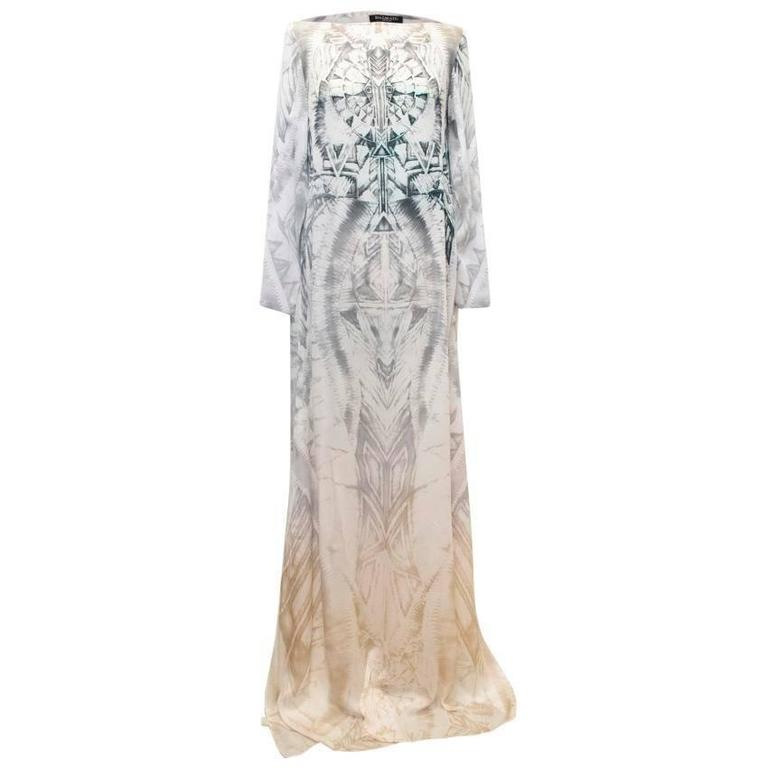 Balmain Long Sleeve Silk Print Maxi Dress With Side Slits 1