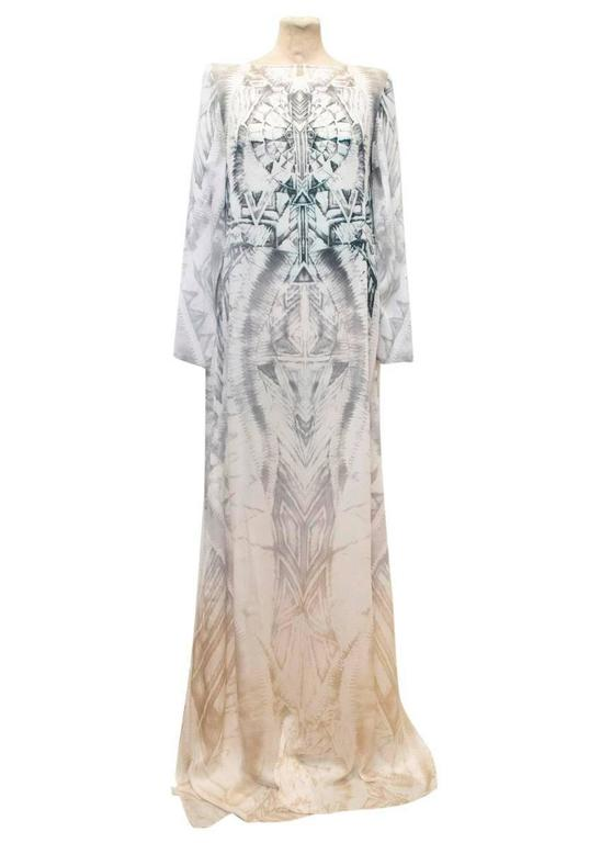 Balmain Long Sleeve Silk Print Maxi Dress With Side Slits 2