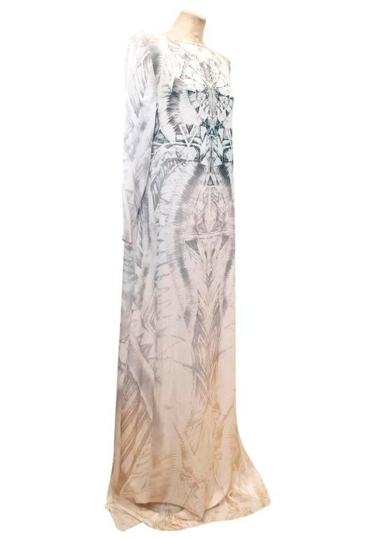 Balmain Long Sleeve Silk Print Maxi Dress With Side Slits 5