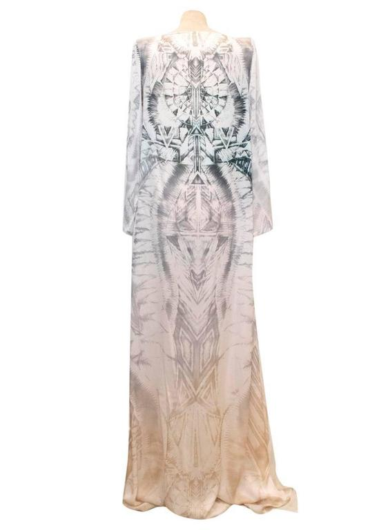 Balmain Long Sleeve Silk Print Maxi Dress With Side Slits 3