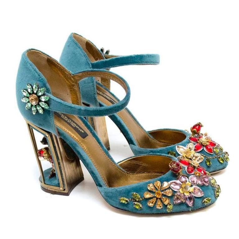 Dolce & Gabbana Teal Embellished Velvet Cage-Heel Pumps 2