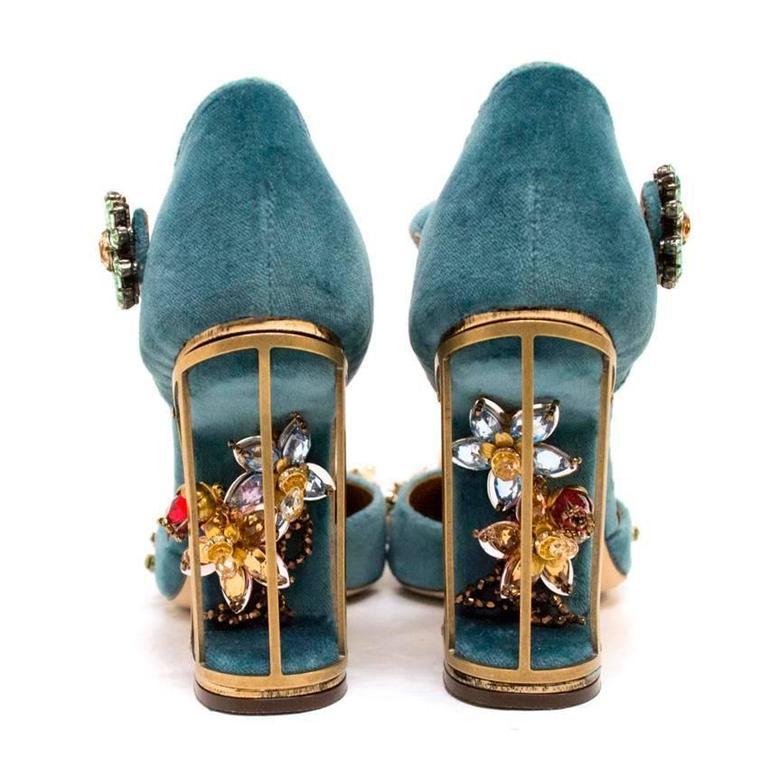 Dolce & Gabbana Teal Embellished Velvet Cage-Heel Pumps 3